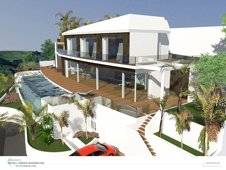Estudio de arquitectura Alicante Arquifach. Estudio de arquitectura Benisse: Villa Morera. Estilo hitech.